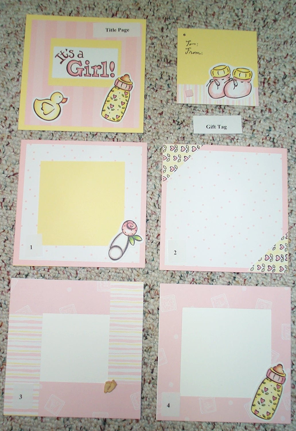 Scrapbook ideas for baby girl - Baby Girl Photo 1 Title Page Gift Tag And Layouts 1 4
